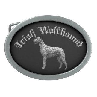 Irish Wolfhound Round Belt Buckle (Black/Silver)