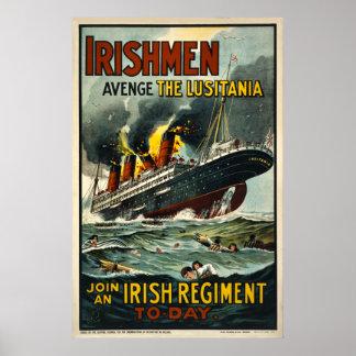 Irishmen Avenge the Lusitania Vintage Poster