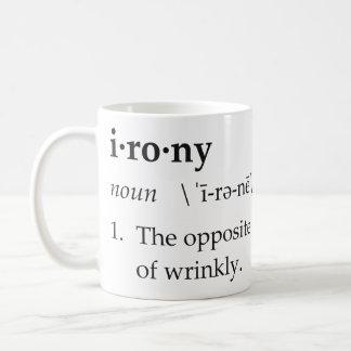 Irony Definition The Opposite of Wrinkly Basic White Mug