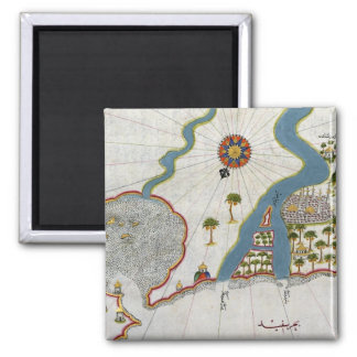 Islamic Map From Antiquity Square Magnet