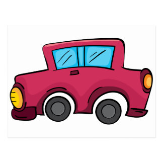 Isolated toy car on white postcard