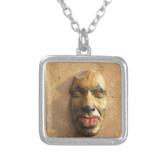 Italian Art Face Photo Sticking Out Tongue Square Pendant Necklace