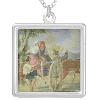 Italian Cart Square Pendant Necklace