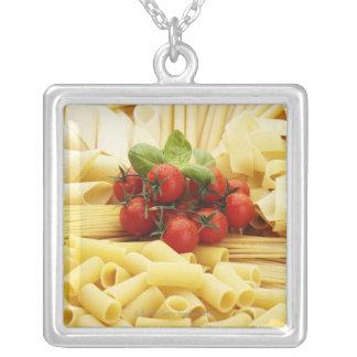 Italian cuisine. Pasta and tomatoes. Square Pendant Necklace