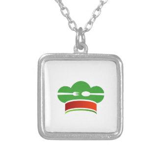 Italian cuisine square pendant necklace