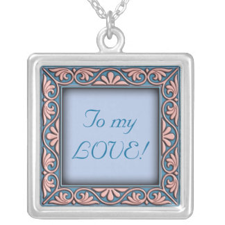 Italian floral frame ornament personal square pendant necklace