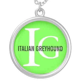 Italian Greyhound Breed Monogram Round Pendant Necklace