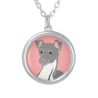 Italian Greyhound with Pink Necklace