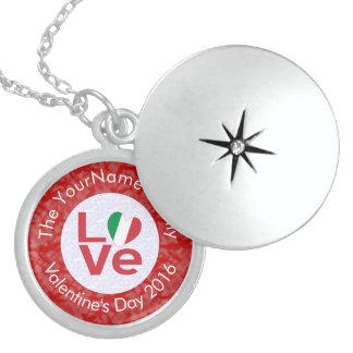 Italian LOVE White on Red Round Locket Necklace