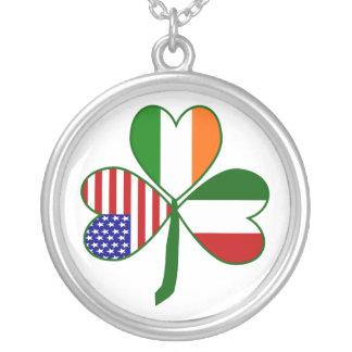 Italian Shamrock Round Pendant Necklace