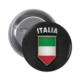 Italy Pennant with high quality leather look 6 Cm Round Badge