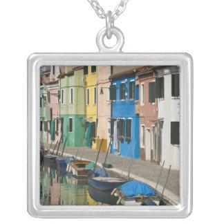Italy, Venice, Burano. Multicolored houses along 2 Square Pendant Necklace