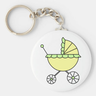 It's A Baby! Yellow Green Baby Carriage Basic Round Button Key Ring
