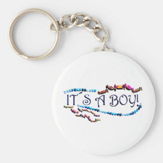 Its a Boy Basic Round Button Key Ring