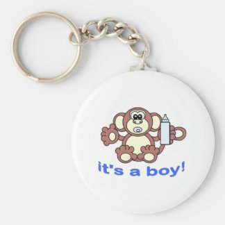 Its A BOY! Basic Round Button Key Ring