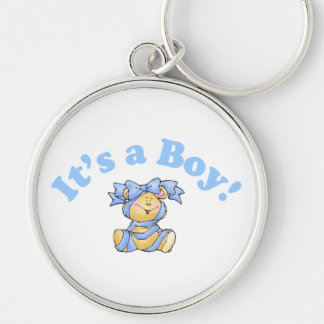 Its A Boy Silver-Colored Round Key Ring