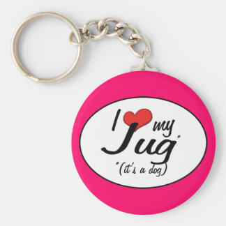 It's a Dog! I Love My Jug Basic Round Button Key Ring