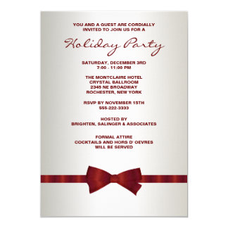 Ivory Red Bow Tie Corporate Christmas Party 13 Cm X 18 Cm Invitation Card
