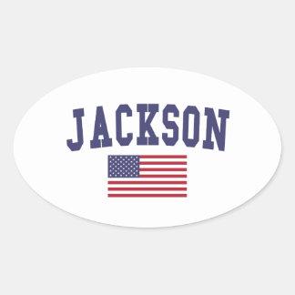 Jackson TN US Flag Oval Sticker