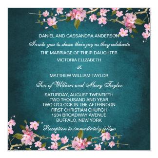 Jade Pink Japanese Cherry Blossoms Wedding 13 Cm X 13 Cm Square Invitation Card