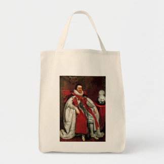 James I by Daniel Mytens Grocery Tote Bag