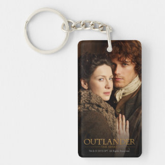 Jamie & Claire embrace photograph Double-Sided Rectangular Acrylic Key Ring