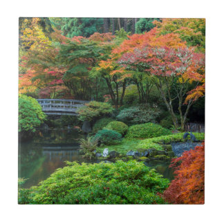 Japanese Gardens In Autumn In Portland, Oregon 3 Small Square Tile