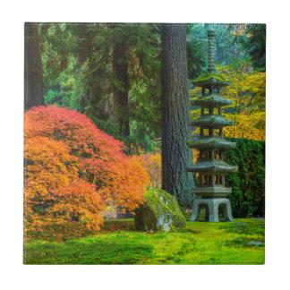 Japanese Gardens In Autumn In Portland, Oregon Small Square Tile
