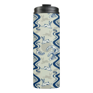 Japanese pattern with moon rabbits thermal tumbler