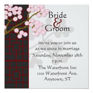 Japanese Screen & Pink Blossoms Wedding Invitation