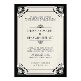 Jazz age black geometric art deco wedding 13 cm x 18 cm invitation card