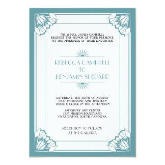 Jazz age blue geometric art deco wedding 13 cm x 18 cm invitation card