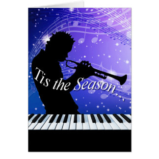 Jazz Horn Player Tis the Season | cobalt blue Greeting Card