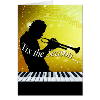 Jazz Horn Player Tis the Season | yellow Greeting Card