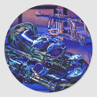 """""""Jazz In Blues"""" Musical Instruments Watercolor Round Sticker"""