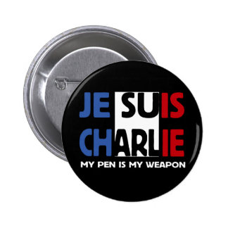 JE SUIS CHARLIE - MY PEN IS MY WEAPON 6 CM ROUND BADGE