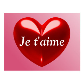 JE T'AIME - I LOVE YOU (French) Postcard