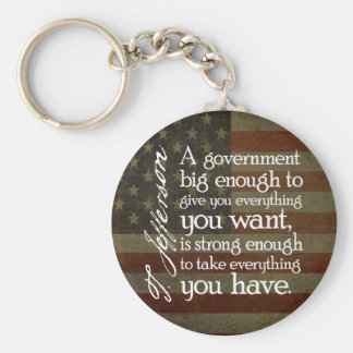 Jefferson: Beware of Big Government Basic Round Button Key Ring