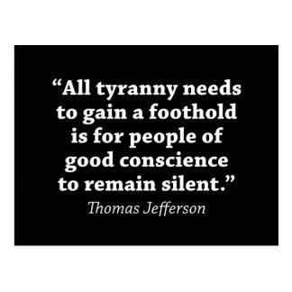 Jefferson: Do not remain silent Postcard