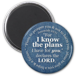 Jeremiah 29:11 I Know the Plans Bible Verse Denim 6 Cm Round Magnet