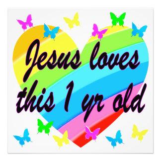 JESUS LOVES THIS 1 YEAR OLD BIRTHDAY DESIGN ART PHOTO