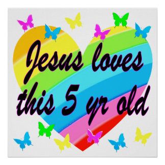 JESUS LOVES THIS 5 YR OLD 5TH BIRTHDAY BLESSING POSTER