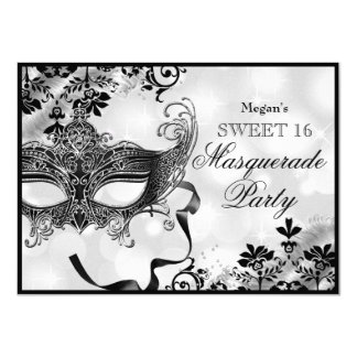 Jewel Mask & Damask Silver Masquerade Sweet 16 11 Cm X 16 Cm Invitation Card