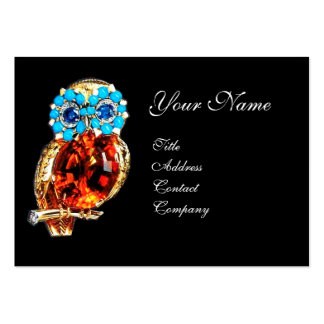 JEWEL OWL ,Gold, Blue Turquase ,Topaz Pack Of Chubby Business Cards
