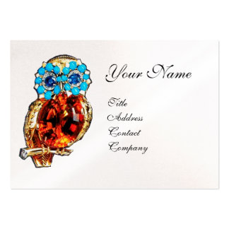 JEWEL OWL ,Gold, Blue Turquase ,Topaz White Pearl Pack Of Chubby Business Cards