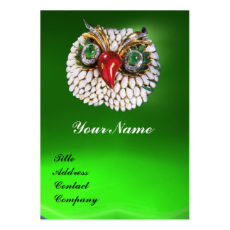 JEWEL OWL ,Gold,Green Emerald ,black white pearl Pack Of Chubby Business Cards