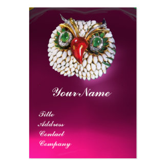 JEWEL OWL ,Gold,Green Emerald Fuchsia white pearl Pack Of Chubby Business Cards