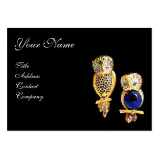 JEWEL OWLS,Gold, Blue Sapphire ,Topaz White Pearl Pack Of Chubby Business Cards