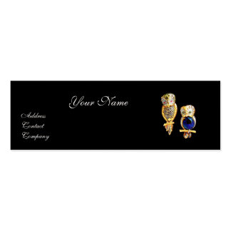 JEWEL OWLS,Gold, Blue Sapphire ,Topaz White Pearl Pack Of Skinny Business Cards