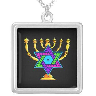 Jewish Candlesticks Square Pendant Necklace
